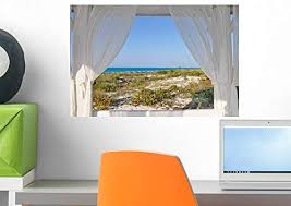 Amazon Com Wallmonkeys Wm225251 Window To The Sea Wall Decal Peel And Stick Graphic 18 In W X 12 In H Home Kitchen