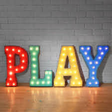 Play Marquee Sign Plug In Letters Light Up Kids Game Room Arcade Man Cave Fun Ebay