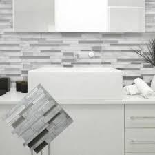 Wall Decal Sticker Kitchen Bathroom Self Adhesive Backs Plash White Grey Marble Ebay
