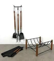 wood wall fireplace tool set log holder