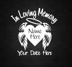 Angel Heart Wings In Loving Memory Decal Personalize Vinyl Decal Car Decal Door Decal Co Memorial Decals In Loving Memory Tattoos Loving Memory Car Decals