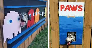 Dad Transforms Fence Into Pop Culture Art To Frame Curious Dog S Face Inspiremore