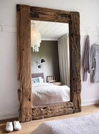 large leaner rustic wood mirror