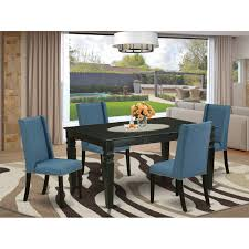 Shop Wefl5 Blk 21 5 Pc Small Dining Table Set 4 Dining Room Chairs And Butterfly Leaf Dining Table High Back Black Finish Overstock 32085544