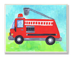 Amazon Com The Kids Room By Stupell Fire Truck With Extension Ladder Rectangle Wall Plaque Baby
