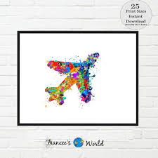 Airplane Print Airplane Art Boys Room Art Colorful Airplane Boys Room Decor Plane Art Boys Room Decor Printable Art Boys Bedroom By Francee S World Catch My Party