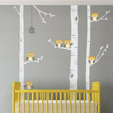 Birch Tree Wall Decal Birch Tree With Owls Wall Sticker Set Etsy