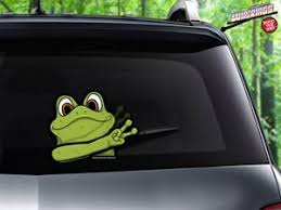 Green Frog Waving Peace Attach To Rear Vehicle Wiper Blades Wipertags