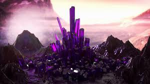crystal landscape pink violet