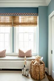 Blue Window Valance With Greek Key Trim Transitional Boy S Room