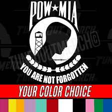 Pow Mia You Are Not Forgotten Military Car Peel N Stick Vinyl Decal Sticker Ebay