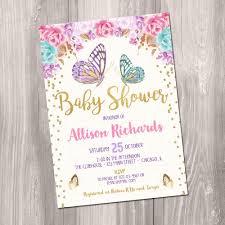 Butterfly Baby Shower Invitation Girl Baby Shower Invite
