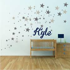 Custom Text Or Name With Bedroom Stars Wall Decals Nursery Star Wallpaper Star Room Stickers Dream Custom Room Primedecals