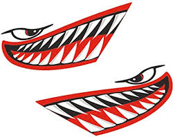 Amazon Com Magideal 2 Pieces Waterproof Vinyl Shark Teeth Mouth Eyes Funny Decal Sticker Kayak Canoe Fishing Boat Car Truck Bike Motorbike Aircraft Graphics Accessories 3 Colors Red Automotive