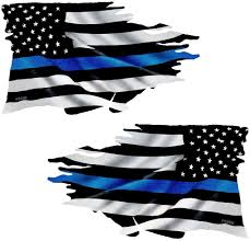 Amazon Com Thin Blue Line Tattered Flag Sticker Mirrored 2 Pack Fs299lr Arts Crafts Sewing