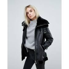 petite faux fur lined aviator jacket