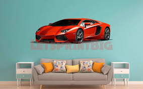 Car Art Yellow Lamborghini Wall Decal Removable Repositionable Let S Print Big