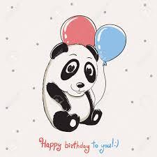 Feliz Panda Lindo Mantiene Globos Y Felicitaciones Con Cumpleanos