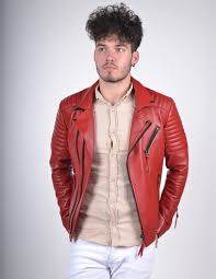 mens red biker style leather jacket