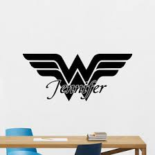 Custom Name Wonder Woman Logo Wall Decal Personalized Vinyl Sticker Mural 157zzz 790518115210 Ebay
