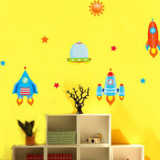 Spaceship Rocket Wall Stickers For Kids Boys Room Wall Decals