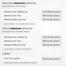 list for wedding hair and makeup