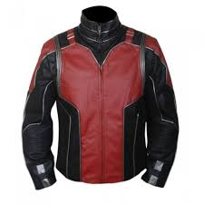 ant man red and black leather jacket