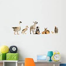 Amazon Com Wallmonkeys Farm Animals Panoramic Wall Decal Decal Graphic 60 In W X 18 In H Wm33853 Furniture Decor