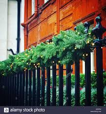 Christmas Decoration On A Fence Stock Photo Alamy