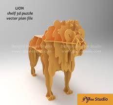 Lion shelf 3d puzzle plan vector file ...
