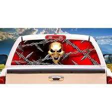 Skull Barbed Wire Rear Window Graphic Truck Decal View Thru Vinyl Walmart Com Walmart Com