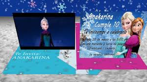 Tarjeta De Invitacion Animada En 3d Cumpleanos Frozen Pop Up