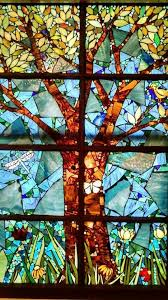 stained glass mosaic tree window by