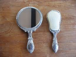 vintage silver plated hand mirror