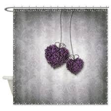 purple hearts shower curtain by