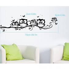Owls Family On A Branch Wall Decal Black Cartoon Owl Wall Art Decor Sticker For Kids Rooms Nursery Baby Boys Girls Bedroom Wallsymbol Com