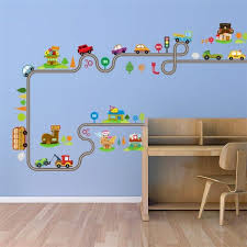 Cartoon Cars Highway Track Wall Stickers For Kids Rooms Sticker Children S Play Room Bedroom Decor Wall Art Decals Shop The Nation