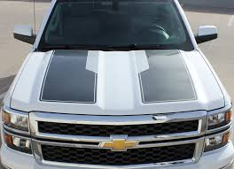 2014 2015 Chevy Silverado 1500 Rally Plus Hood Racing Stripes Decals Auto Motor Stripes Decals Vinyl Graphics And 3m Striping Kits