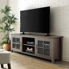 Amazon Com Walker Edison Modern Farmhouse Glass And Wood Stand With Cabinet Doors For Tv S Up To 80 Living Room Storage Shelves Entertainment Center 70 Inch Grey Wash Buffets Sideboards