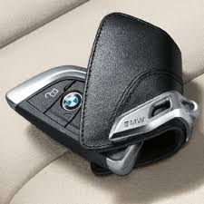 genuine bmw key holder fob leather case