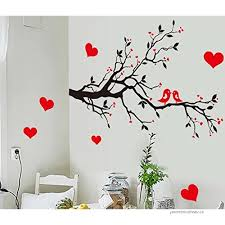 Bibitime Black Tree Branch Red Plum Wall Decal Kissing Lovers Birds Hearts Art Sticker For Nursery