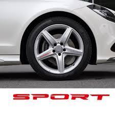 Black White Red 4pcs Set Sport Wheel Decal Sticker Sport Car Racing Vinyl Stickers For Mercedes Benz Rims Wheel Logo Decal Sticker Vinyl Stickerssticker Sport Aliexpress