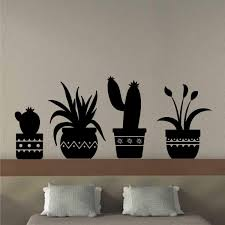 Wall Decal Cactus Plant Silhouettes Southwest Pottery Art