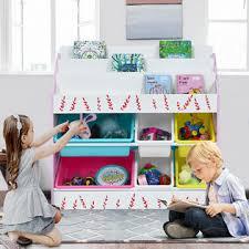 Costway Kids Toy Storage Organizer Children Storage Bins Book Sleeves Playroom Bedroom