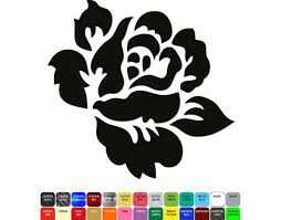 English Rose Flower Of England Silhouette Car Decal Hq Etsy