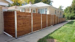 Horizontal Cedar Wood Fence With Metal Posts Wood Fence Cedar Wood Fence Fence Design