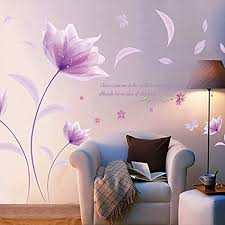 Kaimao Purple Flower In The Wind Wall Stickers Art Decal Murals Removable Wallpapers For Home Decoration Amazon Com