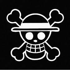 Amazon Com One Piece Luffy Straw Hat Pirate Anime Car Decal Sticker Cars Laptops Windows White Automotive
