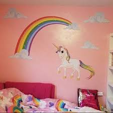 Pastel Rainbow And Unicorn Wall Decal Rainbow Unicorn Wall Etsy Rainbow Wall Decal Fabric Wall Decals Unicorn Wall Decal
