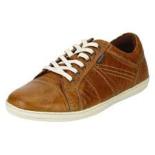 red tape men s tan leather sneakers